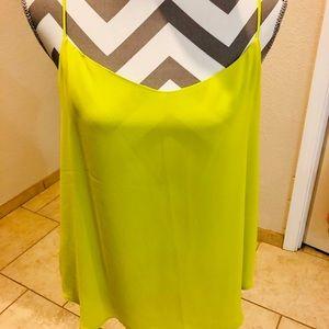 Loft chartreuse color race back Strappy blouse